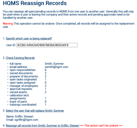 Quality Management Software Reassign Records Feature